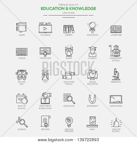 Flat Line Modern icons for Education and Knowledge. Vector