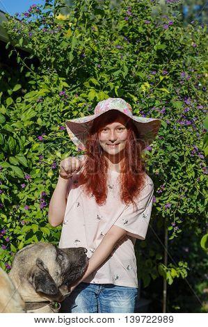 Smile Girl With Turkish Kangal Dog