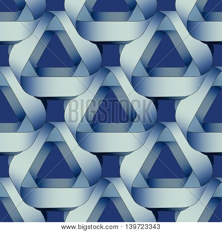 Seamless geometric pattern with blue ribbons texture.  Modern monochrome background.