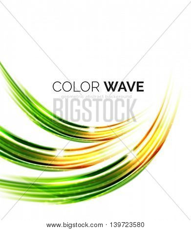 Blurred wave design elements with shiny light effects