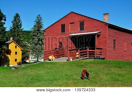 Hancock Massachusetts - September 17 2014: The 1820 Tannery at historic Hancock Shaker Village