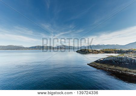 Beautiful view on nowegian fjords. Tranquil scene.