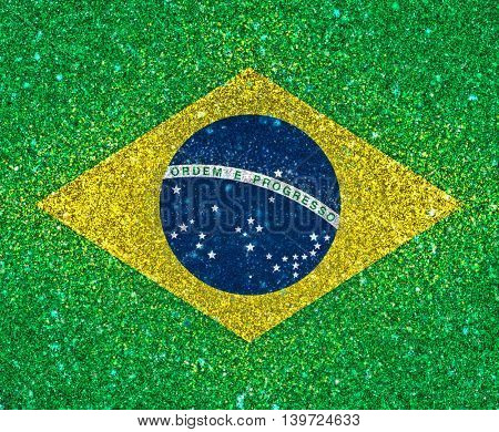 3D background of Brazil flag with glitter effect