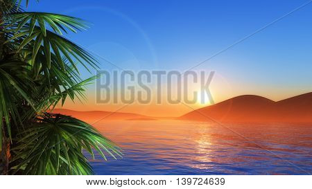 3D render of palm trees against a sunset sea