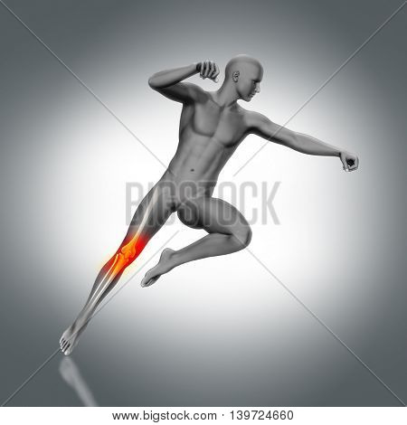 3D render of a medical figure with partial skeleton in jump pose