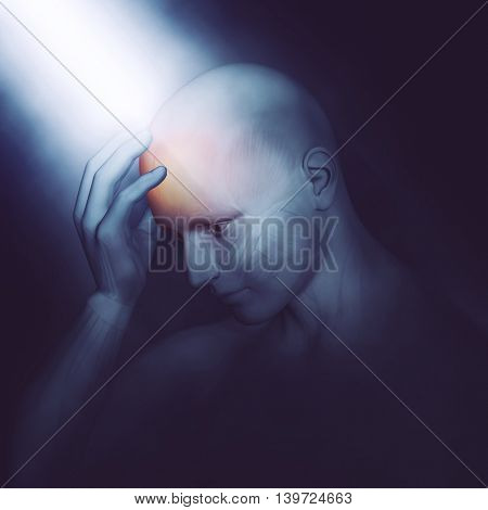 3D render of a male medical figure holding head in pain with dramatic lighting