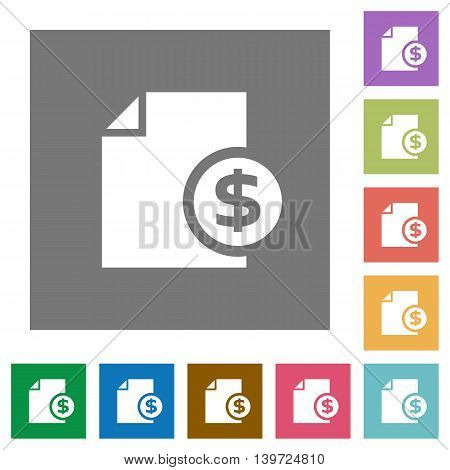 Dollar money report flat icon set on color square background.