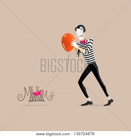 A Mime performing a pantomime called trying hardly to get an orange balloon moving forward