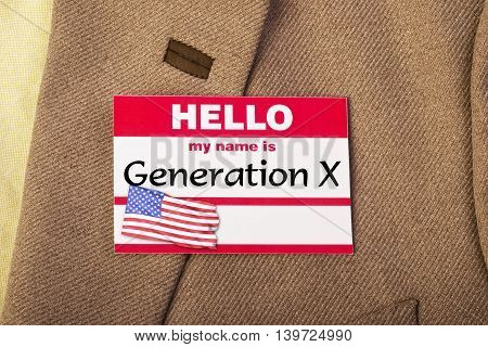 My name is Generation X name tag .