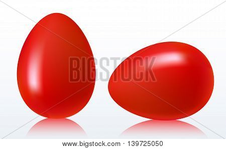 Two red easter eggs on a white background with reflection. Vector illustration