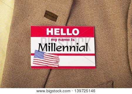 My name is Millennial name tag on jacket.