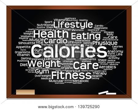 Concept or conceptual abstract health, nutrition and sport word cloud on blackboard and chalk background