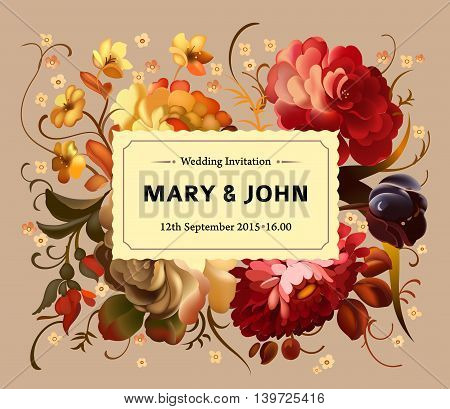 Wedding invitation. Vintage card with garden flowers. Vector illustration.