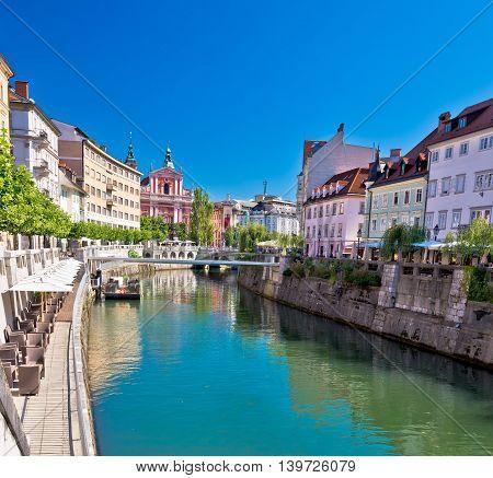 City of Ljubljana historic riverfont view capital of Slovenia
