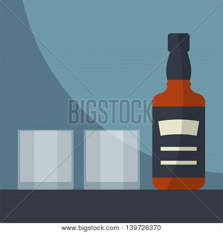 Whiskey bottle with two glasses empty. Serving alcohol. Simple flat vector.