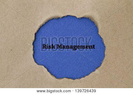 Risk Management word written under torn paper concept