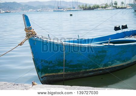 bluold little fiscing boat in italian sea