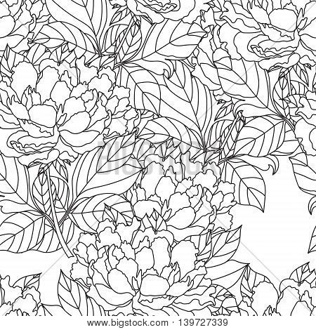 Seamless Peony bouquet.Vector. Coloring book page for adults. Hand drawn artwork. Love bohemia concept for wedding invitation, card, ticket, branding, logo, label. Gift for girl, women. Black and white