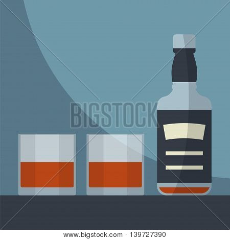 Whiskey empty bottle with two glasses filled. Serving alcohol. Simple flat vector.