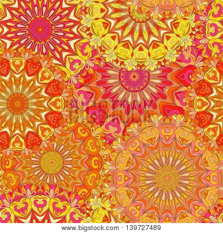 Colorful seamless pattern mandala can be used for wallpaper pattern fills web page background surface textures. Arabic, Islam, India. vector