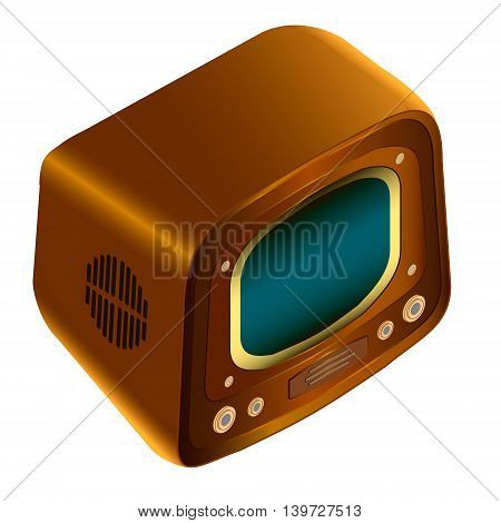 Retro outmoded antique tv. Old TV illustration on a white background; can be used for a greeting card invitation in the designer Illustrator.