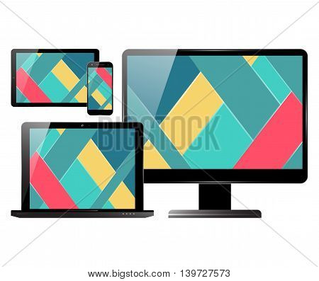 Computer monitor smartphone laptop and tablet pc set. Electronic devices with material design screens. Vector illustration.