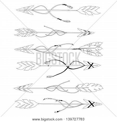 Set of hand drawn decorative arrows in tribal ethnic. Hand drawn vector illustration.