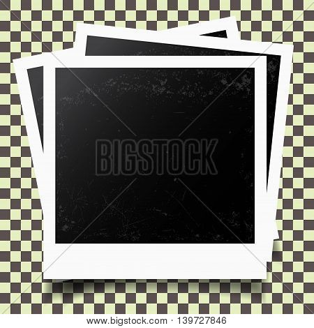 Retro photo frames on checkered background. Vector illustratrion.