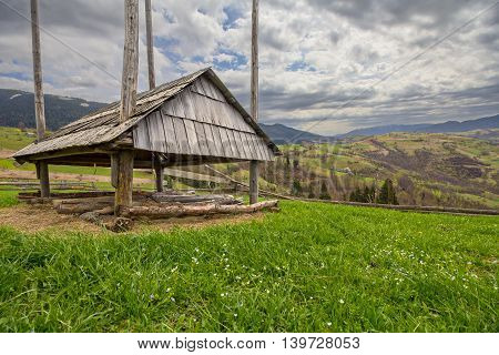 Shed on mountain pasture in the Carpathian Mountains.