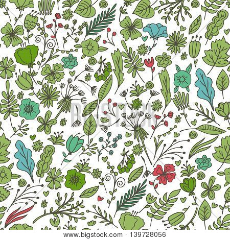 Hand Drawn Floral Seamless Pattern With Flowers And Leaves. Summer,spring Floral Background Pattern.