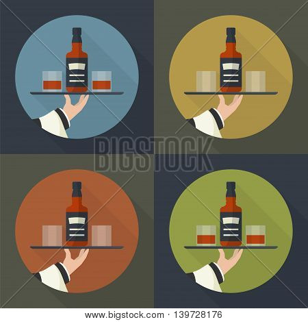 Waiter with whiskey bottle and two glasses and tray on outstretched arm. Drinks Service icon with long shadow. Simple flat vector.