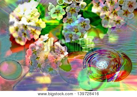 Abstract colorful floral arrangement translucent spheres with rays