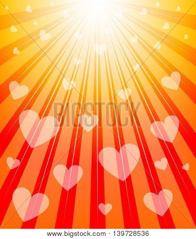 Valentines Day background. Radiant background with hearts