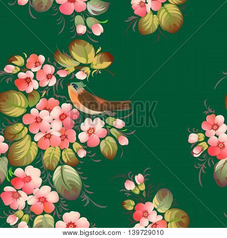Floral textile seamless pattern in Russian Zhostovo style. Russian traditional ornament. Vector illustration.