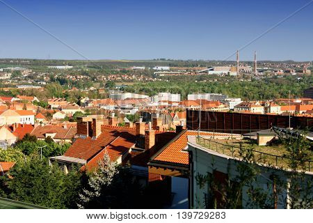 Industrial side of city Pecs in Hungary