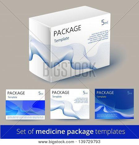 Set of medicine package design with 3d-template. Package of drugs. 100 vector - easy to use. Vector illustration.
