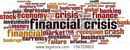 Financial crisis word cloud concept. Vector illustration