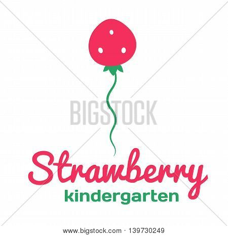 Logo for kindergarten and Family Day Care. Strawberry. Vector illustration.