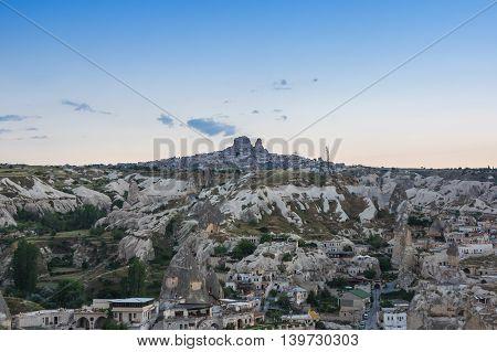 Goreme and Ushisar castle in Cappadocia Central AnatoliaTurkey