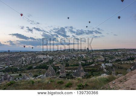 Hot Air Balloons over Cappadocia at sunrise Central Anatolia Turkey