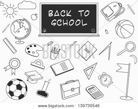 Back to School lineart set. Various school stuff - supplies for sport, art, reading, science, geography, biology, physics, mathematics, astronomy and chemistry. Vector isolated over white background