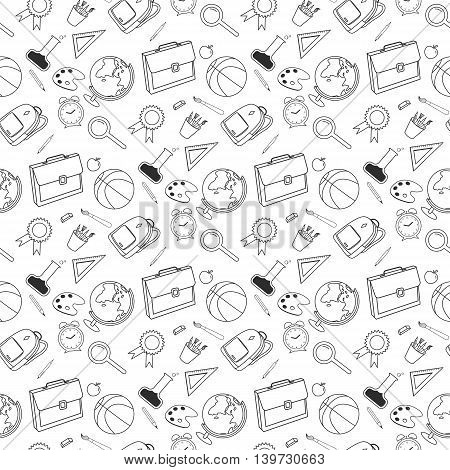 Back to School lineart seamless pattern. Various school stuff - supplies for sport, art, reading, science, geography, biology, physics, mathematics. Vector isolated over white background