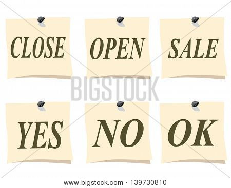A small piece of paper. Remember close, open, sale, yes no