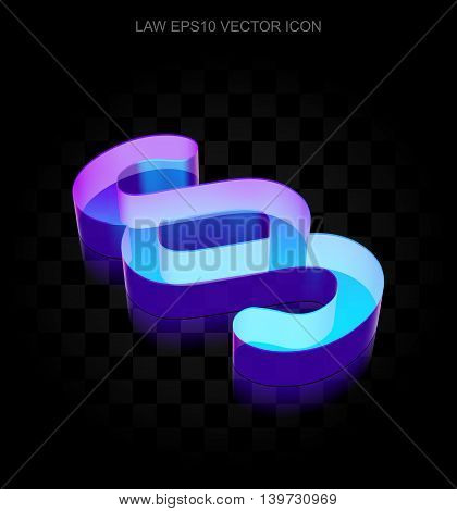 Law icon: 3d neon glowing Paragraph made of glass with transparent shadow on black background, EPS 10 vector illustration.