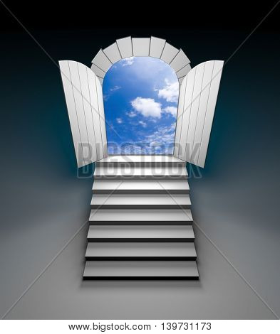 Door to blue clear sky with steps. 3d illustration