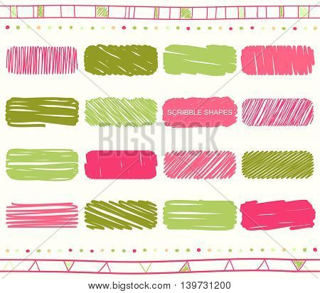 Vector collection of retro scribbled elements in hand drawn style of of green, pink, magenta and red color