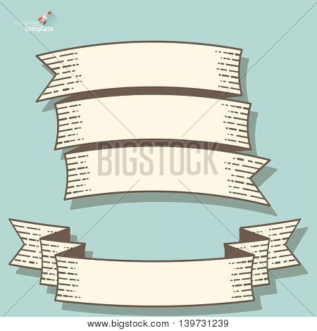 Retro vintage engraving style ribbon vector set.