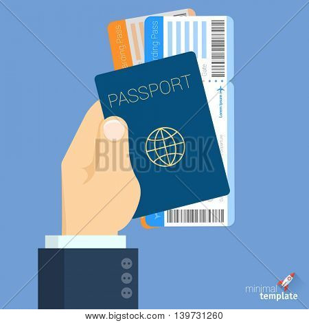 Hand holding passport and boarding pass vector icon.