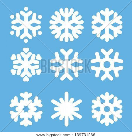 Flan design vector snowflakes icon set.