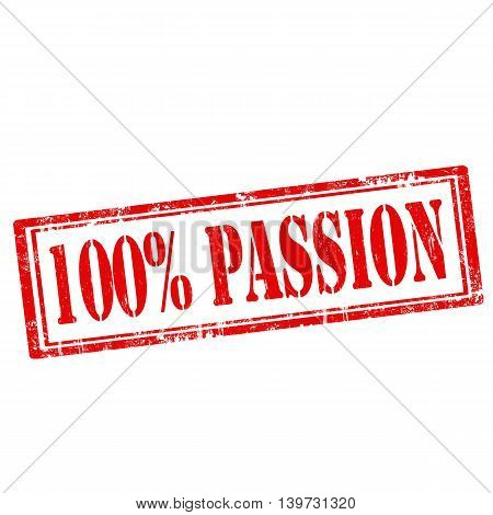 Grunge rubber stamp with text 100% Passion,vector illustration